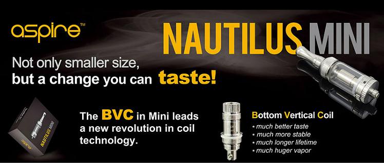 ΑΤΜΟΠΟΙΗΤΉΣ - ASPIRE Nautilus Mini BVC Clearomizer - 2ML Χωρητικότητα - 100% Αυθεντικός