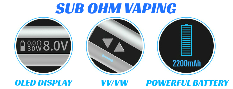 KIT - Eleaf iStick Sub Ohm 30W - 2200mA VV/VW ( ΜΠΛΕ )