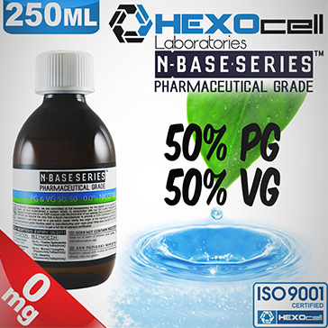 D.I.Y. - 250ml HEXOcell eLiquid Base (50% PG, 50% VG, 0mg/ml Nicotine)
