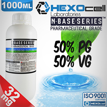 D.I.Y. - 1000ml HEXOcell eLiquid Base (50% PG, 50% VG, 32mg/ml Nicotine)