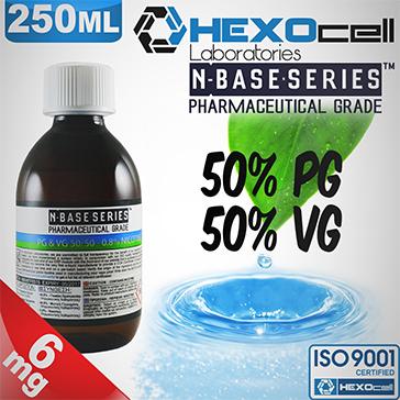 D.I.Y. - 250ml HEXOcell eLiquid Base (50% PG, 50% VG, 6mg/ml Nicotine)