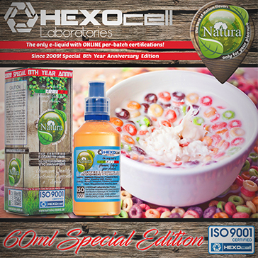 60ml CEREAL BLAST SPECIAL EDITION 9mg High VG eLiquid (With Nicotine, Medium) - Natura eLiquid by HEXOcell