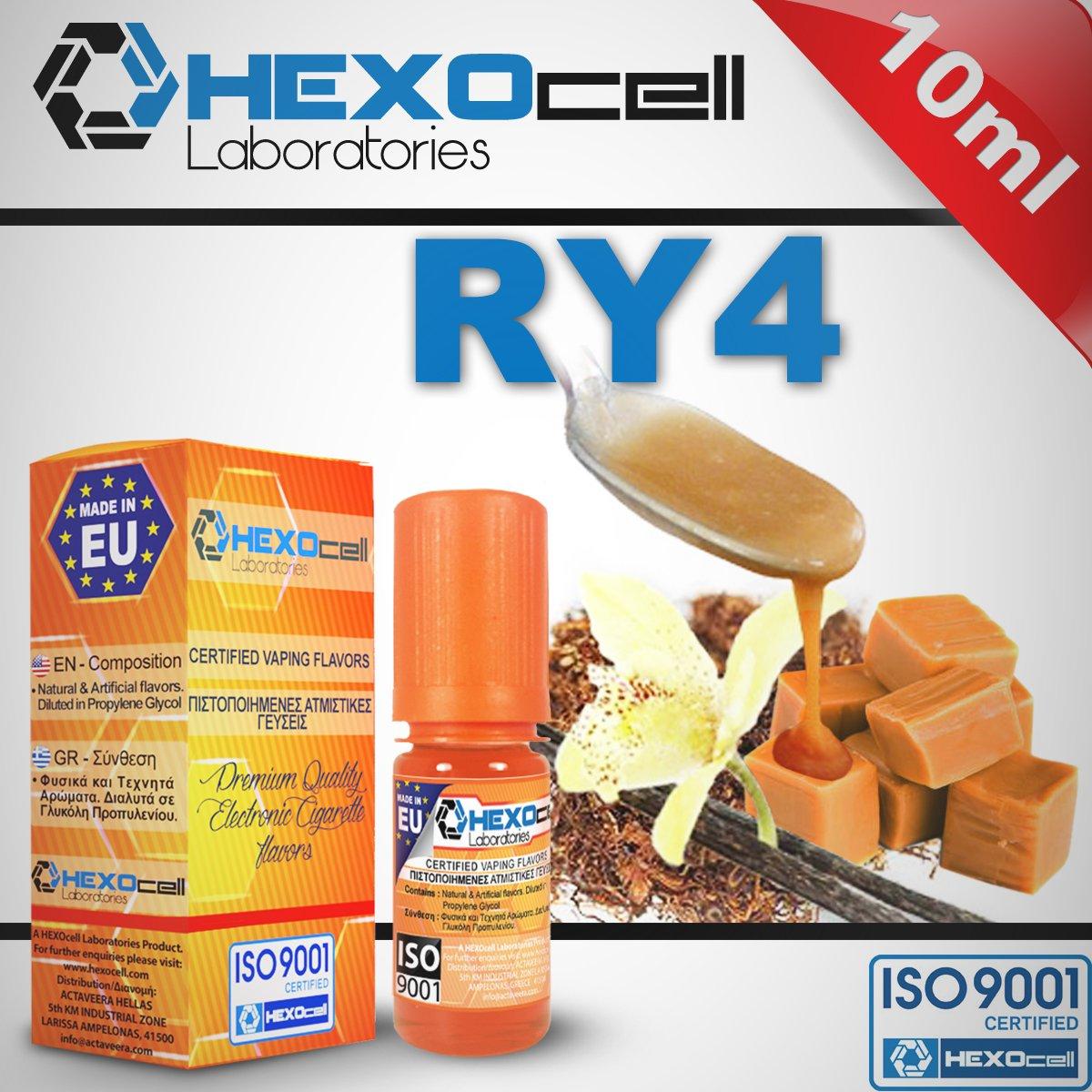 D.I.Y. - ΑΡΩΜΑ - HEXOCELL 10ML - RY4 (ΚΑΠΝΟΣ, ΒΑΝΙΛΙΑ & ΚΑΡΑΜΕΛΑ) - 6.5%