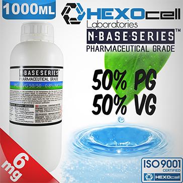 D.I.Y. - 1000ml HEXOcell eLiquid Base (50% PG, 50% VG, 6mg/ml Nicotine)