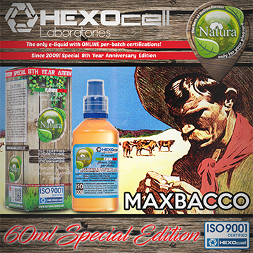60ml MAXBACCO SPECIAL EDITION 6mg High VG eLiquid (With Nicotine, Low) - Natura eLiquid by HEXOcell