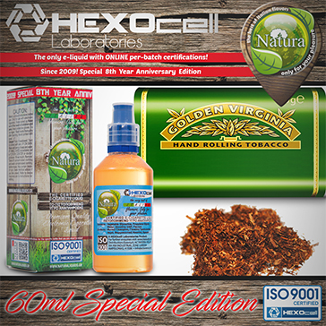 60ml VIRGINIA SPECIAL EDITION 9mg High VG eLiquid (With Nicotine, Medium) - Natura eLiquid by HEXOcell