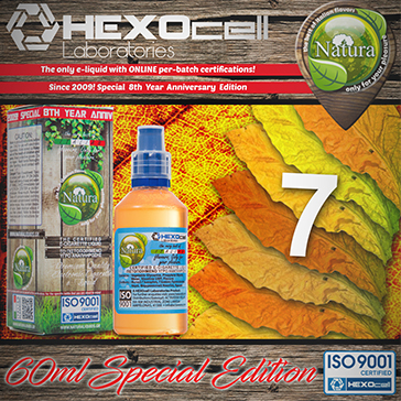 60ml 7 FOGLIE SPECIAL EDITION 9mg High VG eLiquid (With Nicotine, Medium) - Natura eLiquid by HEXOcell