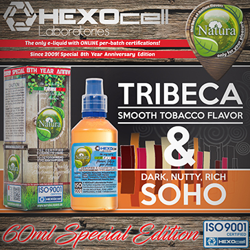 60ml TRIBECA & SOHO SPECIAL EDITION 9mg High VG eLiquid (With Nicotine, Medium) - Natura eLiquid by HEXOcell