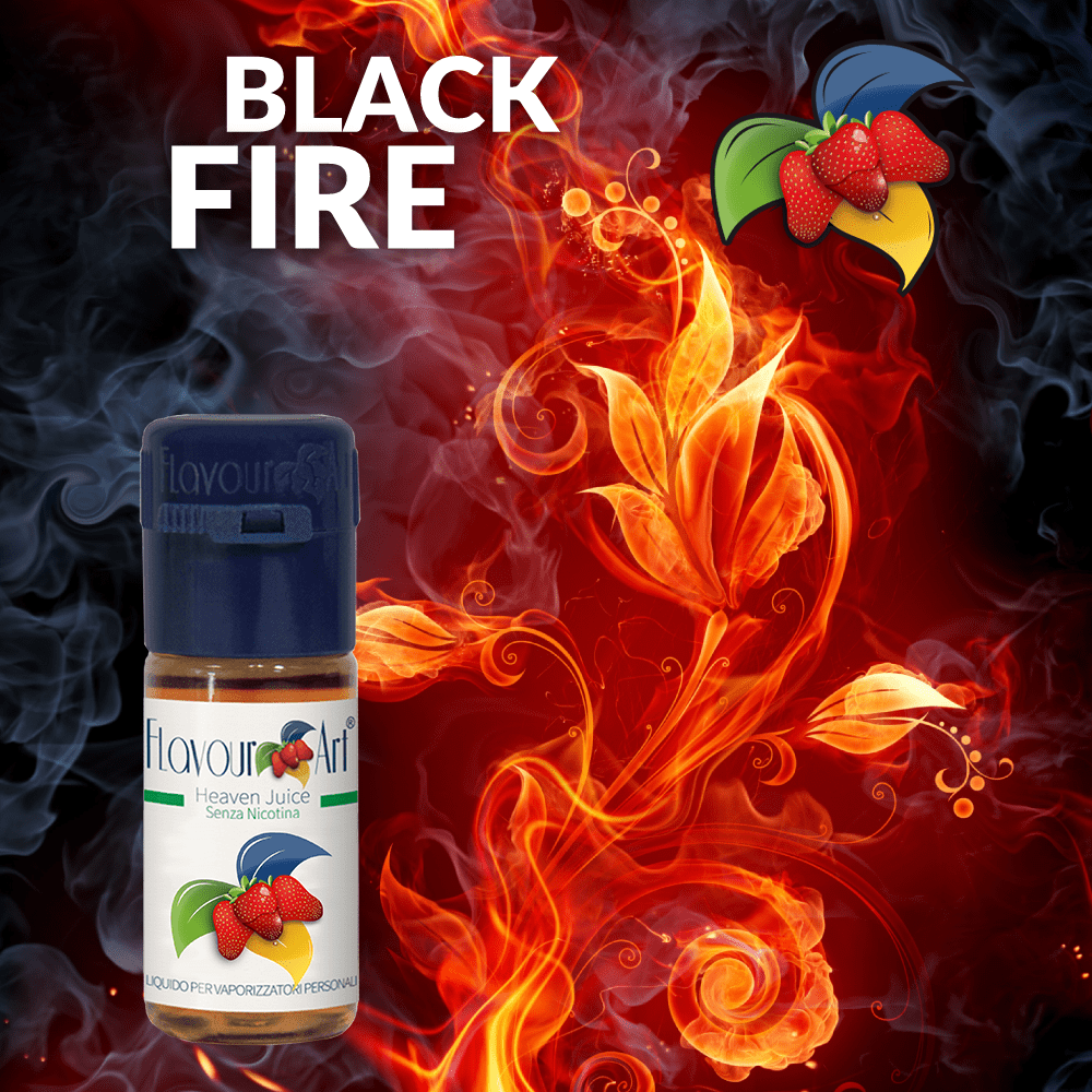 ELIQUID - 10ML - FLAVOURART ITALY - BLACK FIRE ( ΚΑΠΝΟΣ & ΚΑΡΑΜΕΛΑ ) 4.5mg